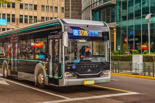 Public Bus Pudong Shanghái Foto de stock y más banco de imágenes de Aire libre