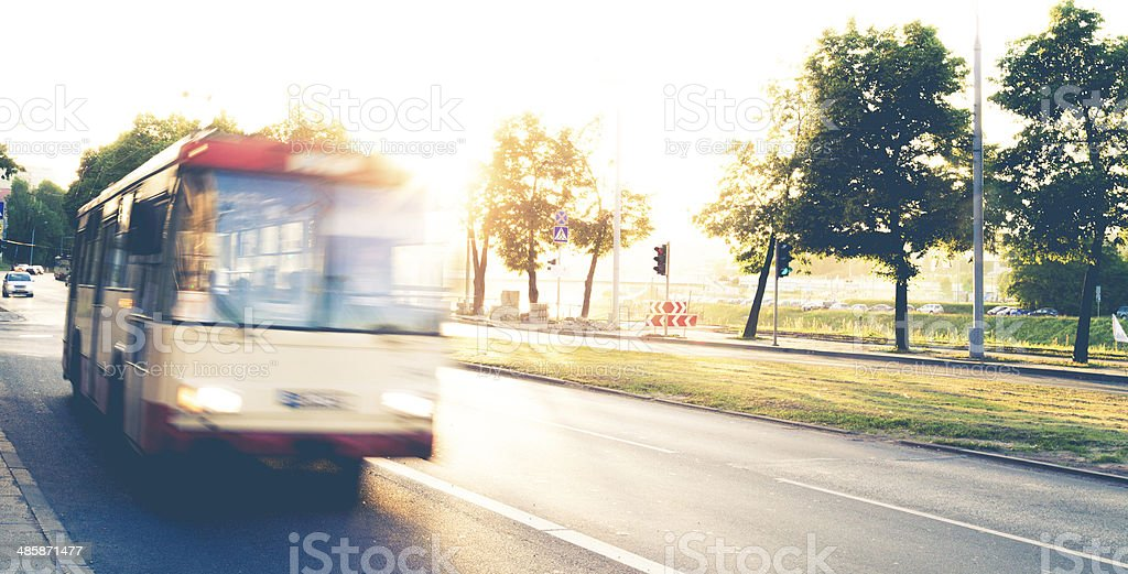 Public bus transportation in Vilnius - Lithuania stock photo