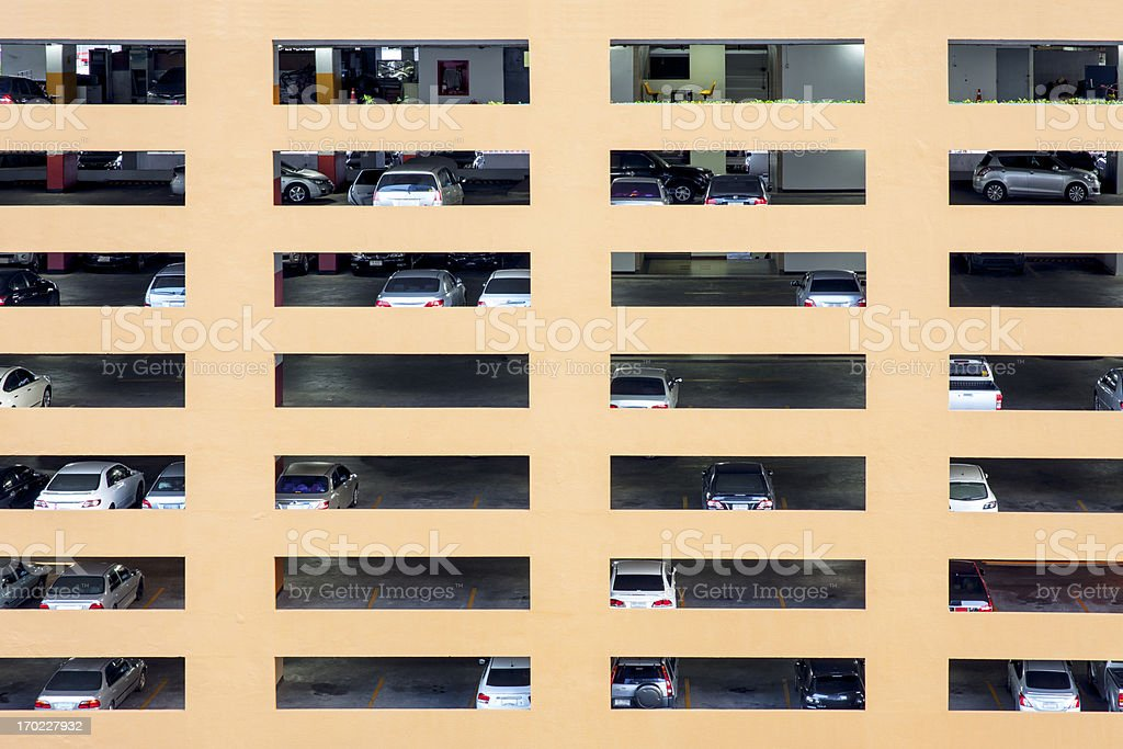 Public Car park,  Bangkok, Thailand. royalty-free stock photo