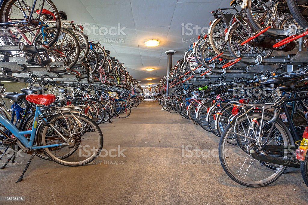 Public cycle parking garage central station stock photo