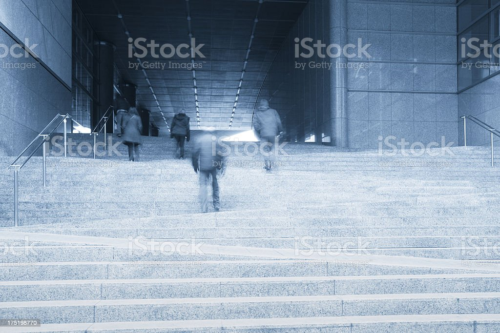Public entrance stairs at European Parliament in Brussels, Belgium royalty-free stock photo