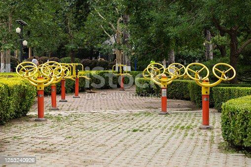 istock Public Exercise Equipment 1253240926