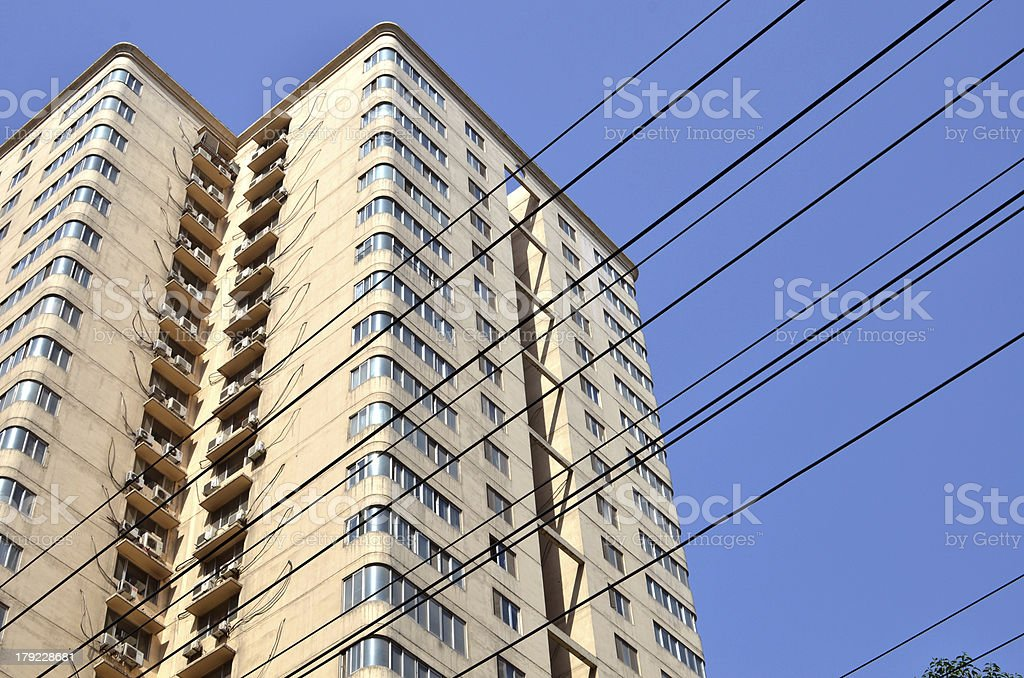 Public Facilities transmission tower cables and wires royalty-free stock photo