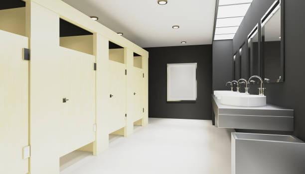 Banheiro público feminino. Renderização 3D. Imagens vazias - foto de acervo