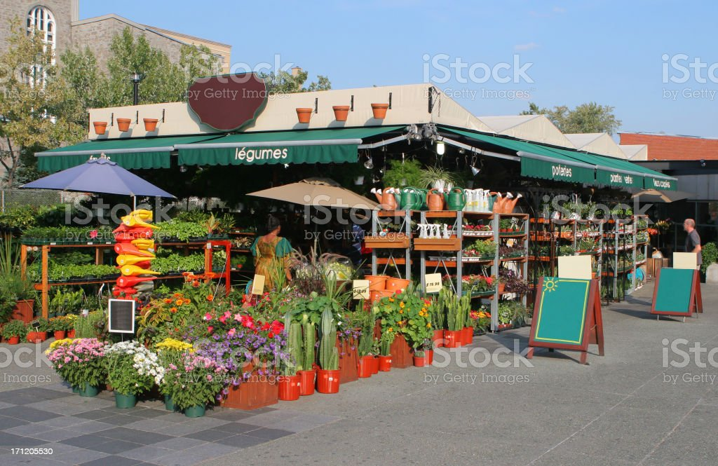 Public Flower Market in Montreal stock photo