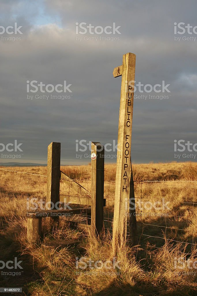 Public Footpath Sign and Stile royalty-free stock photo