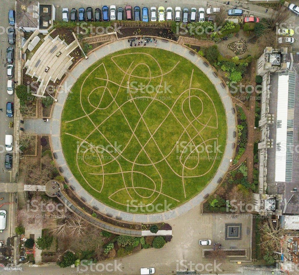 Public garden in the centre of Dublin city, Ireland. stock photo