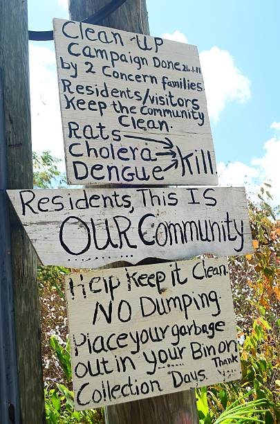 public health campaign neighborhood sign - bioremediation stock photos and pictures