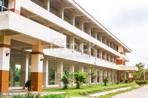 1045032684 istock photo Public high school building. View of secondary or primary school architecture with green lawn with playground in Thailand, education concept 994281086