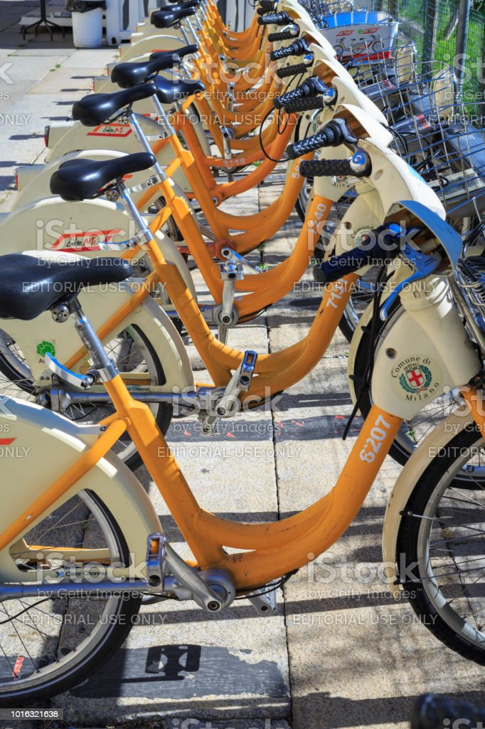 Public hire bicycles in Milan, Italy stock photo