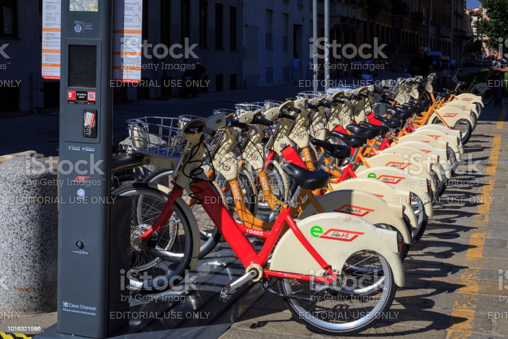 Public hire electric bicycles in Milan, Italy stock photo