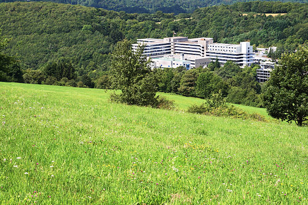 Public hospital building in forest valley stock photo