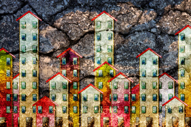 Public housing concept image painted on cracked asphalt road surface background - I'm the copyright owner of the graffiti images used in this picture. stock photo
