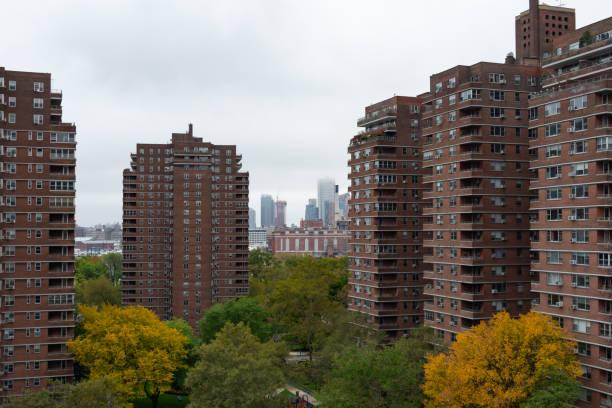 public housing skyscrapers in manhattan mit bunten herbstbäumen mit blick auf downtown brooklyn in new york city - sozialwohnung stock-fotos und bilder
