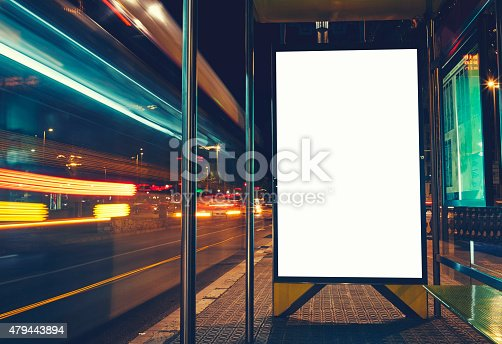 istock Public information board with blurred vehicles in high speed 479443894