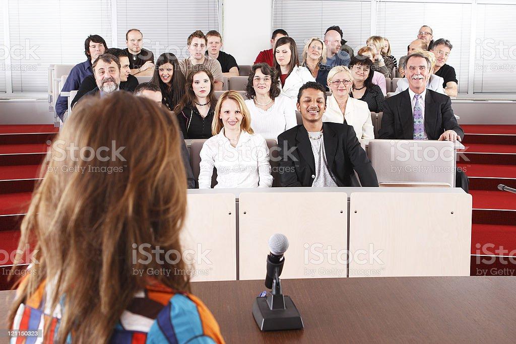 Public interview stock photo