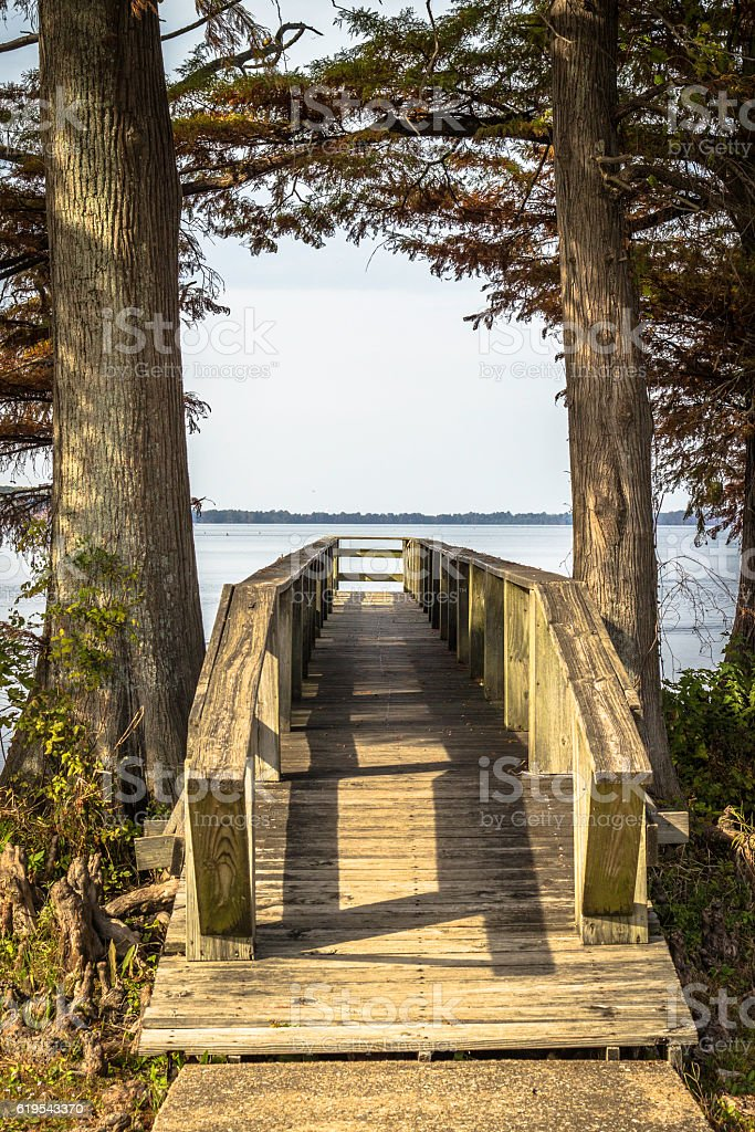 Public Jetty at Reelfoot Lake Tennessee stock photo