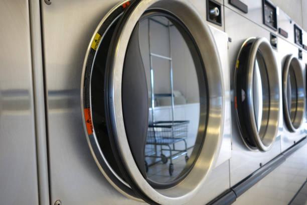 public laundromat stock photo