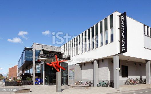 Karlshamn, Sweden - August 23, 2017: Exterior of the public library building i Karlshamn.