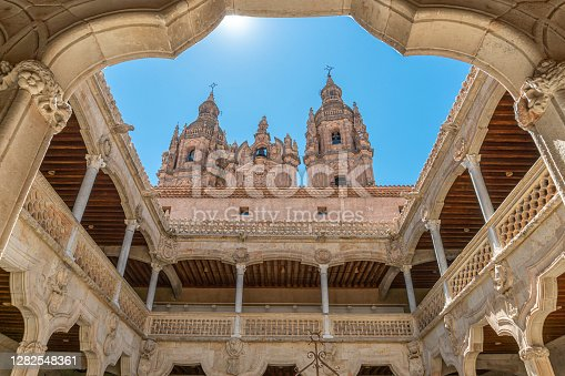 View of the Clergy Towers from the Public Library courtyard in the city of Salamanca, Spain