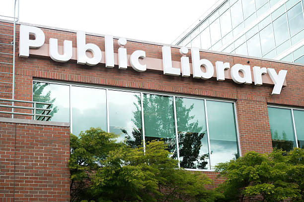 Public Library Sign stock photo