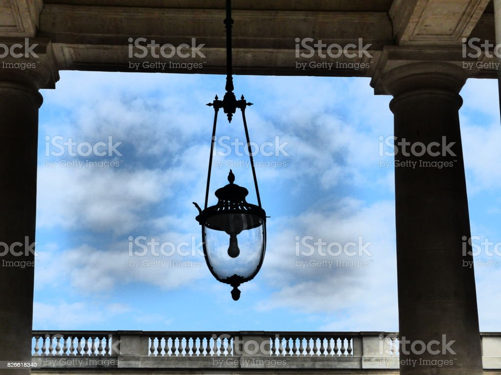 Public lighting in district of the Royal Palace, Paris stock photo