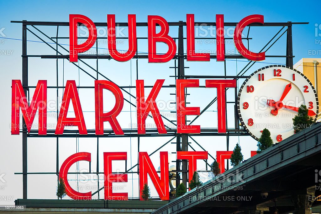 Public Market Center sign at Pike Place in Seattle, Washington royalty-free stock photo