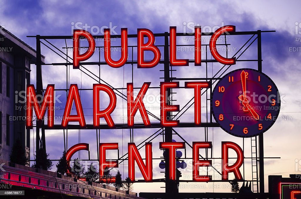 Public Market Center sign at Pike Place in Seattle, Washington stock photo