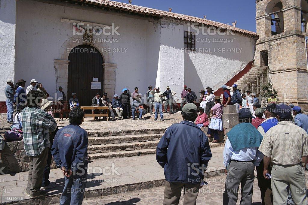 Public meeting in Quinoa, Ayacucho, Peru stock photo