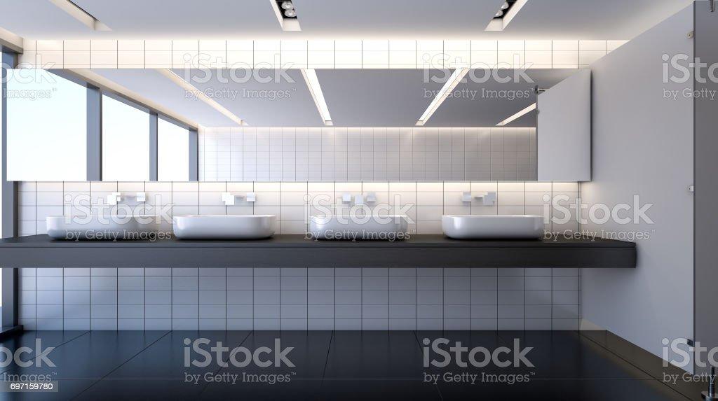 Public modern restroom , 3d rendering stock photo