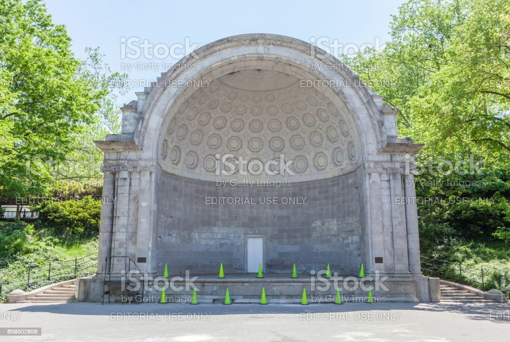 New York, USA- May 20, 2014. Public music shell in Central park of New York City, USA. stock photo
