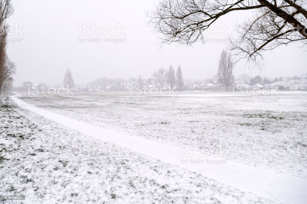 Public park covered in snow stock photo