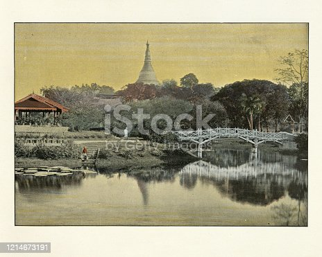 Antique colourised photograph of Public park, garden, Rangoon, Burma. 19th Century.