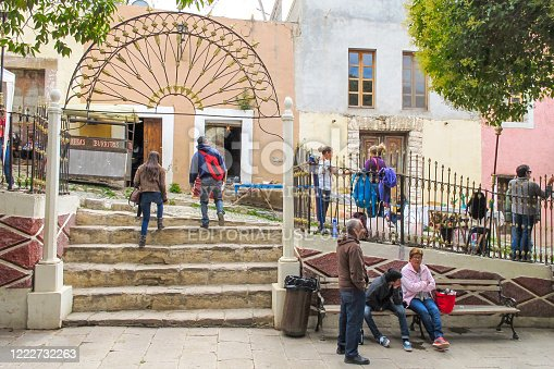 Real de Catorce, San Luis Potosi, Mexico, September 11 -- A public park in the ancient town of Real de Catorce in the state of San Luis Potosi in central Mexico. Founded in 1772, Real de Catorce is located at 2750 meters above sea level and can only be reached through the 2.3 km long Ogarrio tunnel.