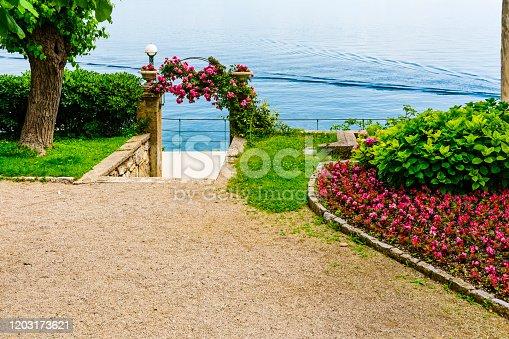 Lungomare, hiking path and public garden in Lovran. Istria, Croatia
