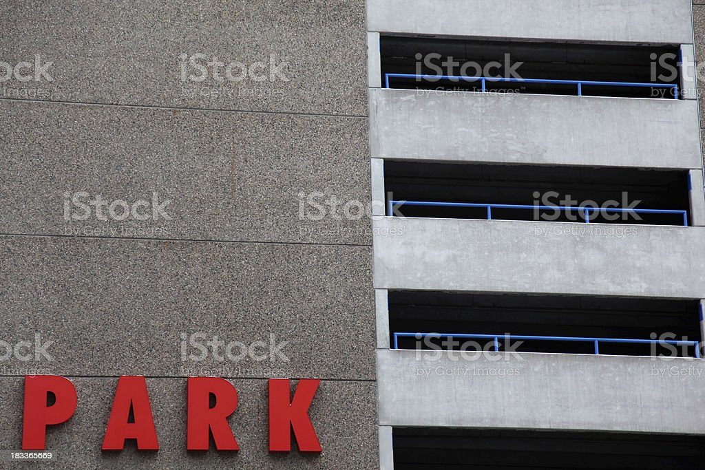 Public parking garage sign downtown royalty-free stock photo