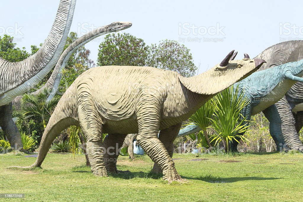 public parks of statues and dinosaur stock photo