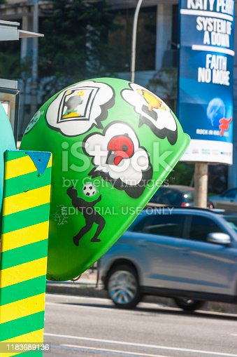 Rio de Janeiro, Brazil - September 20, 2018: Public Pay Phone Booth in Rio de Janeiro's Downtown.