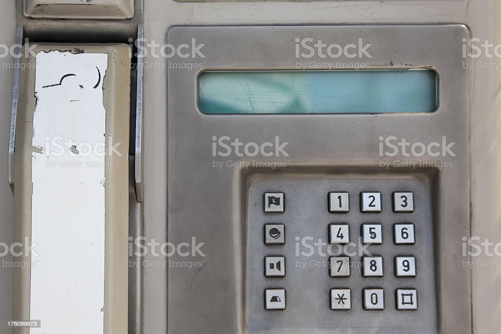 Public Pay Phone, Grunge, Keypad, Receiver, Close-Up royalty-free stock photo