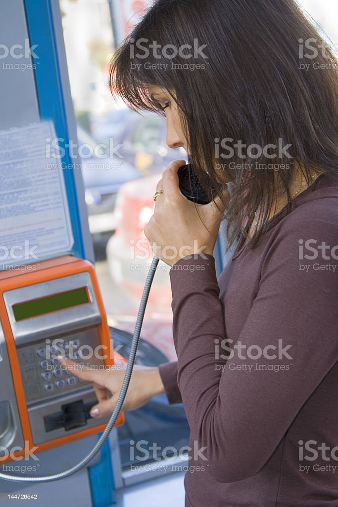 Public phone call stock photo
