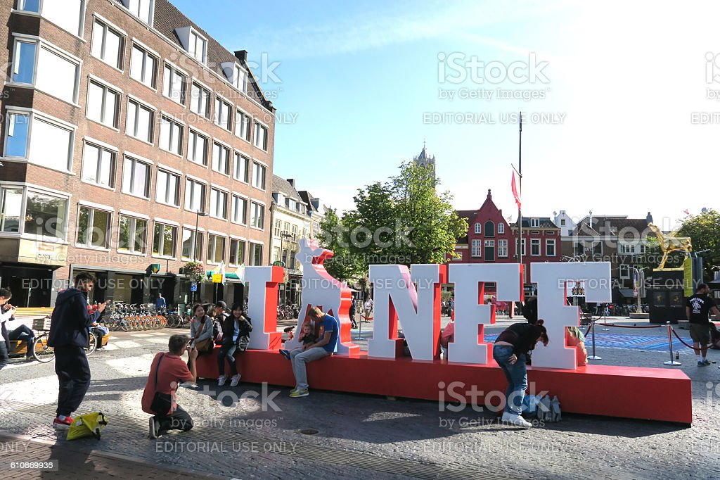 public photo shoot at netherlands film festival sign neude stock photo