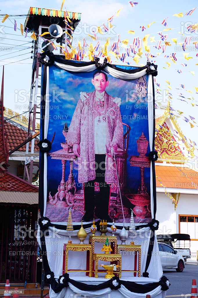 Public pictuce of Bhumibol Adulyadej king our beloved. stock photo