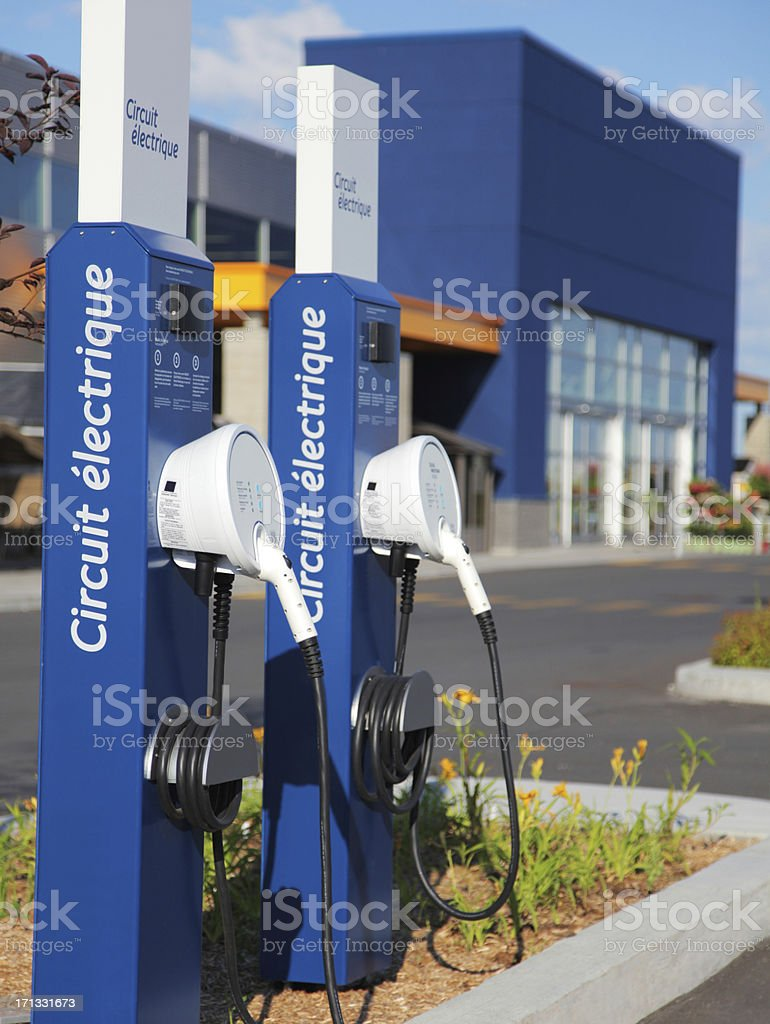 Public Plugs for Electric Cars stock photo