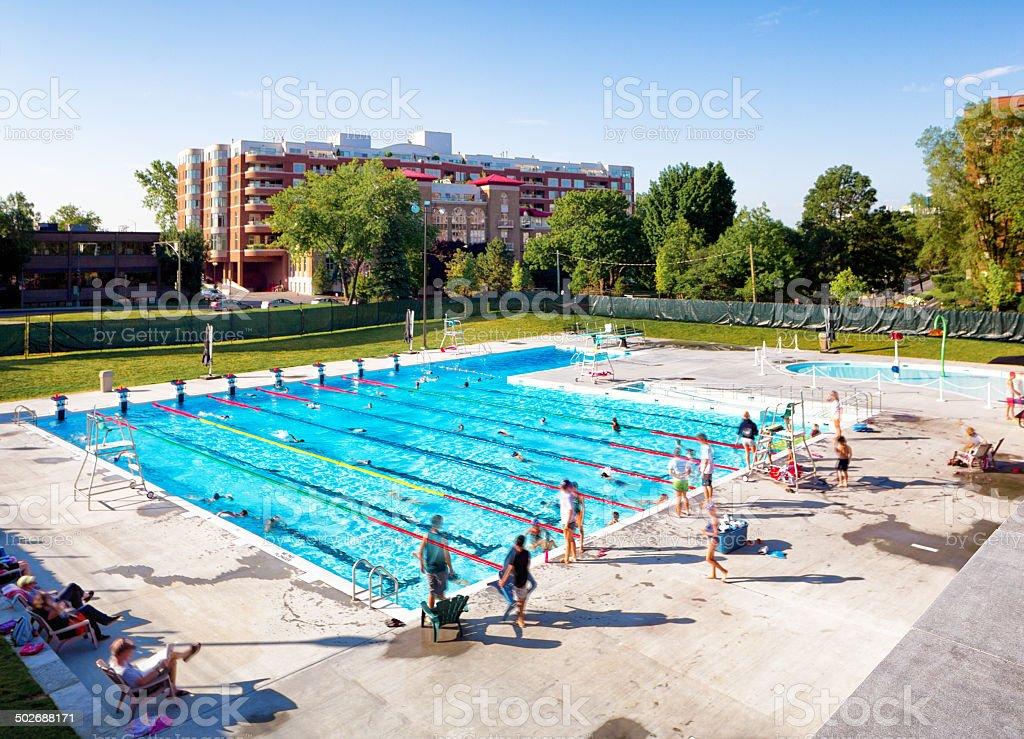Public pool stock photo