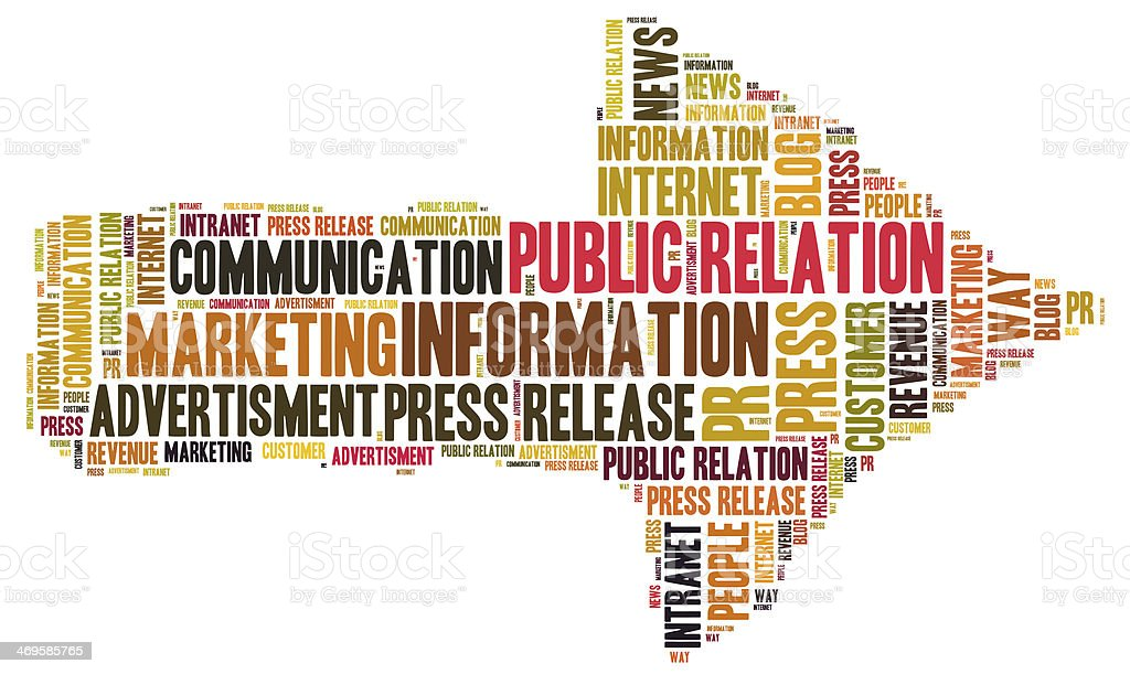 Public relation word cloud stock photo