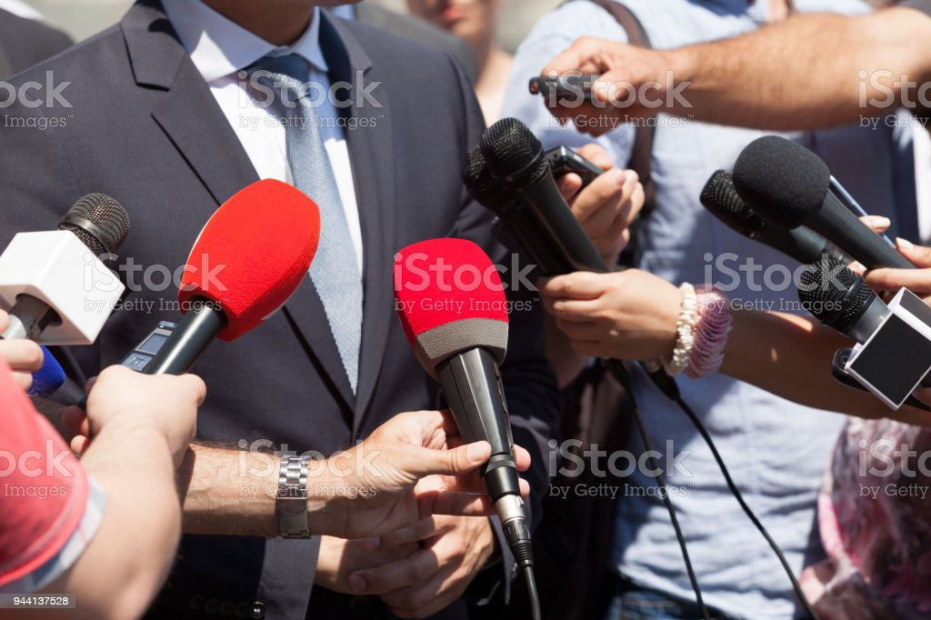 Public relations - PR. Media interview. Press conference. stock photo