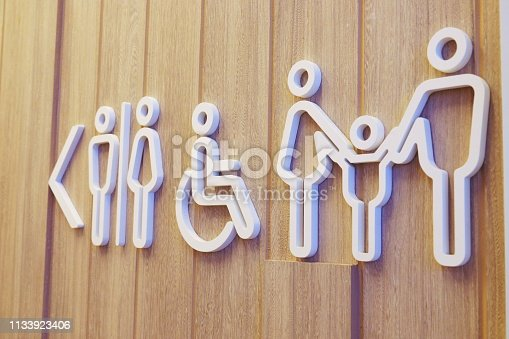 480193462 istock photo Public restroom signs for family in public area. on a wooden wall background 1133923406