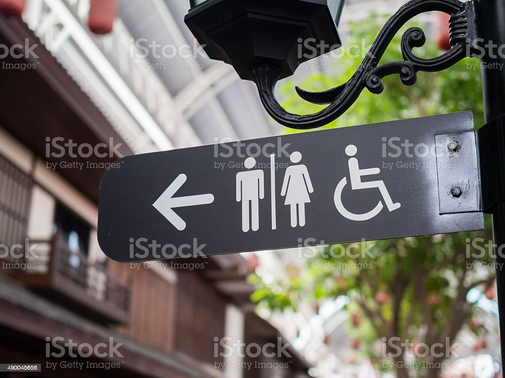 Public restroom signs stock photo