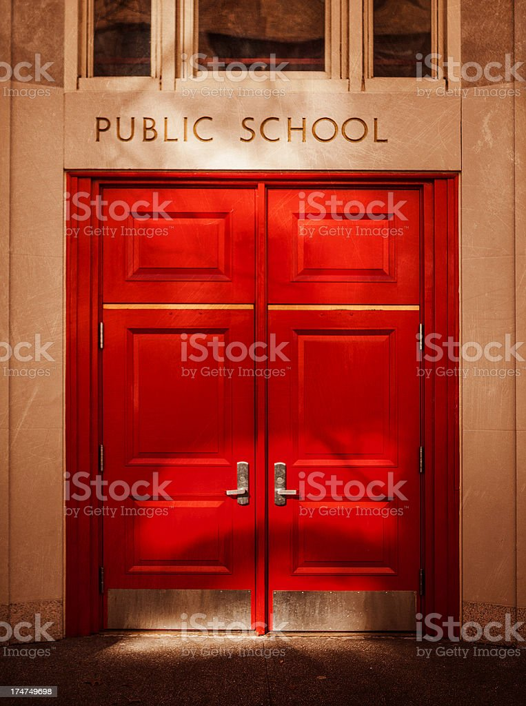 public school entrance stock photo