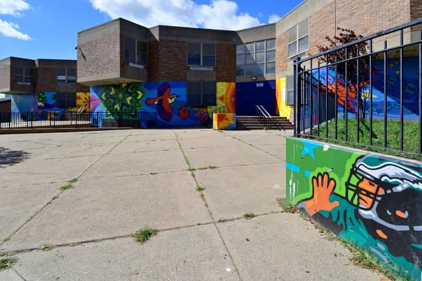 Public School in Kensington Neighborhood of Philadelphia, PA stock photo